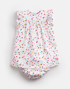 Joules UK BETTY Baby Girls Woven Dress And Knicker Set WHITE MULTI SPOT