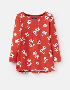 Joules US Harbour Womens Printed Jersey top RED DAISY