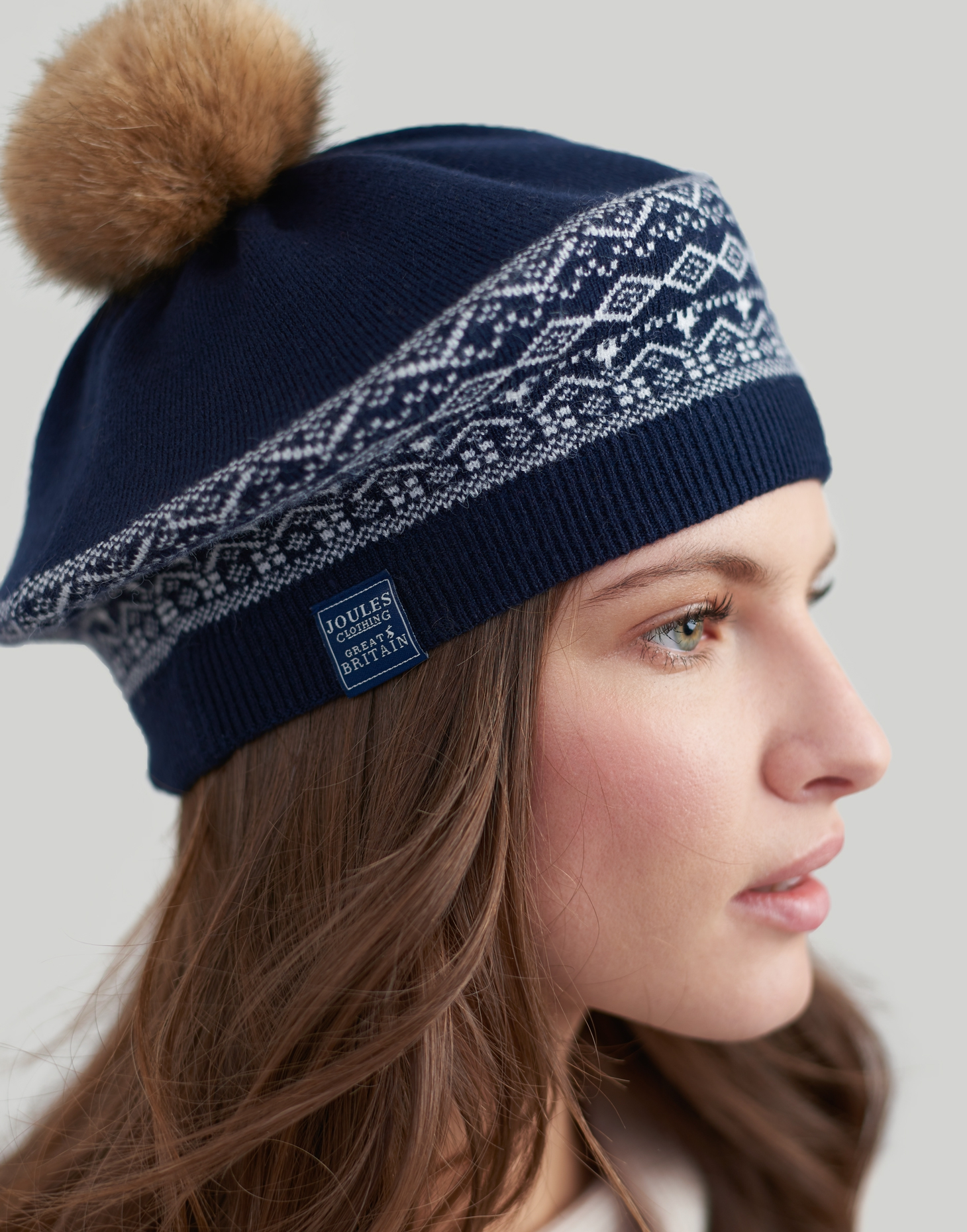 b0056fb41 Details about Joules women Perbury Fairisle Knitted Beret With A Pop A Pom  in in One Size