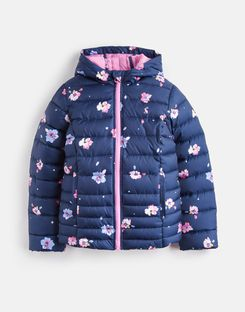 Joules US KINNAIRD PRINTED Older Girls QUILTED PACKABLE COAT 1-12yr NAVY PETAL FLORAL