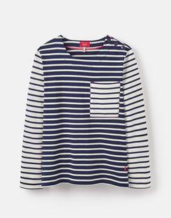 8182210999e42d Nessa stripe NAVY CREAM STRIPE Lightweight Jersey T-Shirt   Joules UK