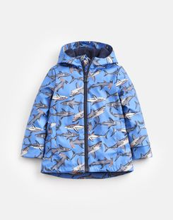 Joules UK Skipper Older Boys Rubber Raincoat 1-12 Yr BLUE SHARKS