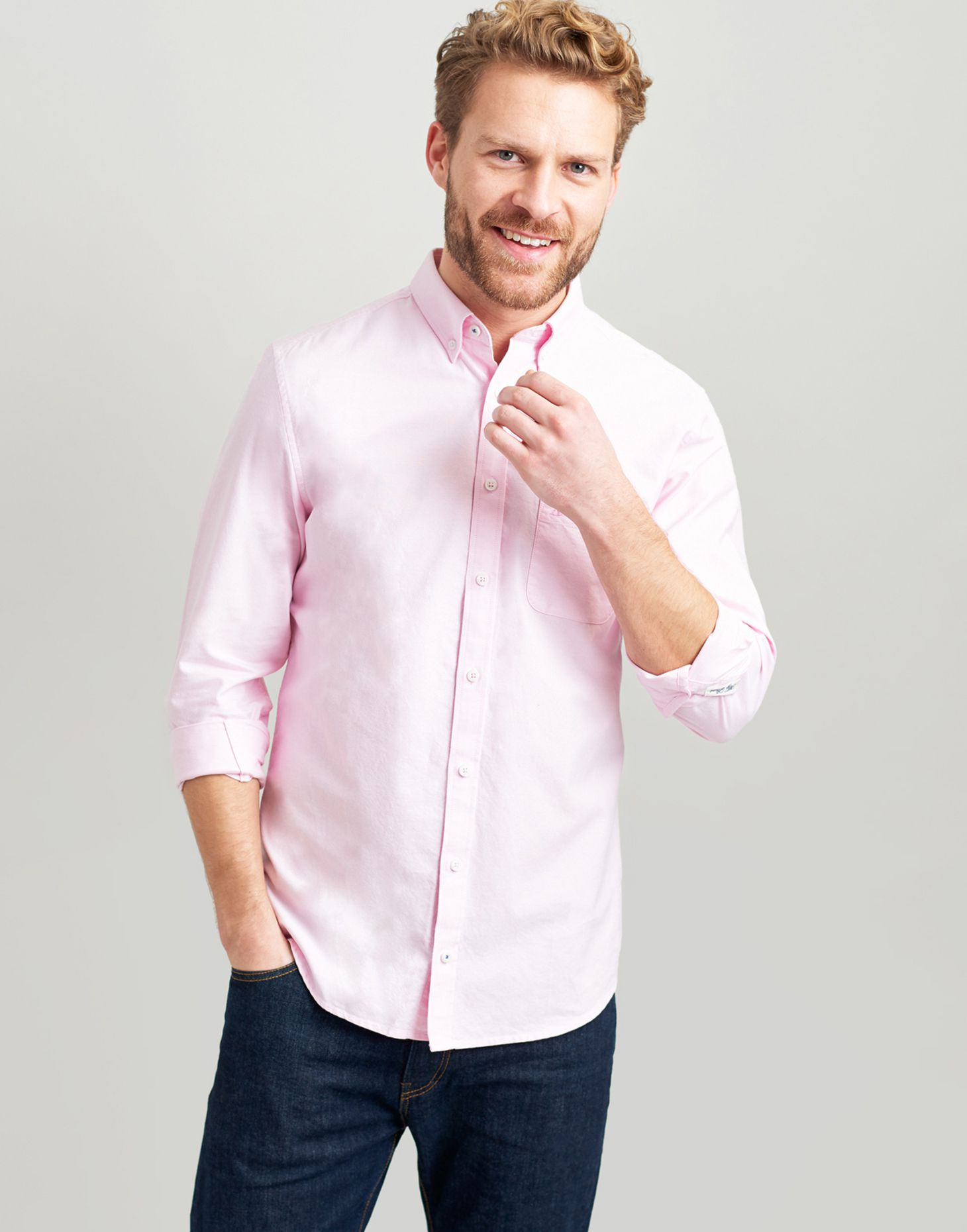 93842635 The laundered oxford slim PINK OXFORD Fit Long Sleeve Shirt | Joules UK