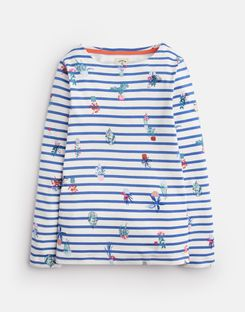 Joules UK Harbour Older Girls Jersey Top 3-12 Yr CREAM BLUE PLANT STRIPE