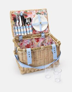 Joules UK PICNIC BASKET Homeware With Set for Four People WHITE FLORAL