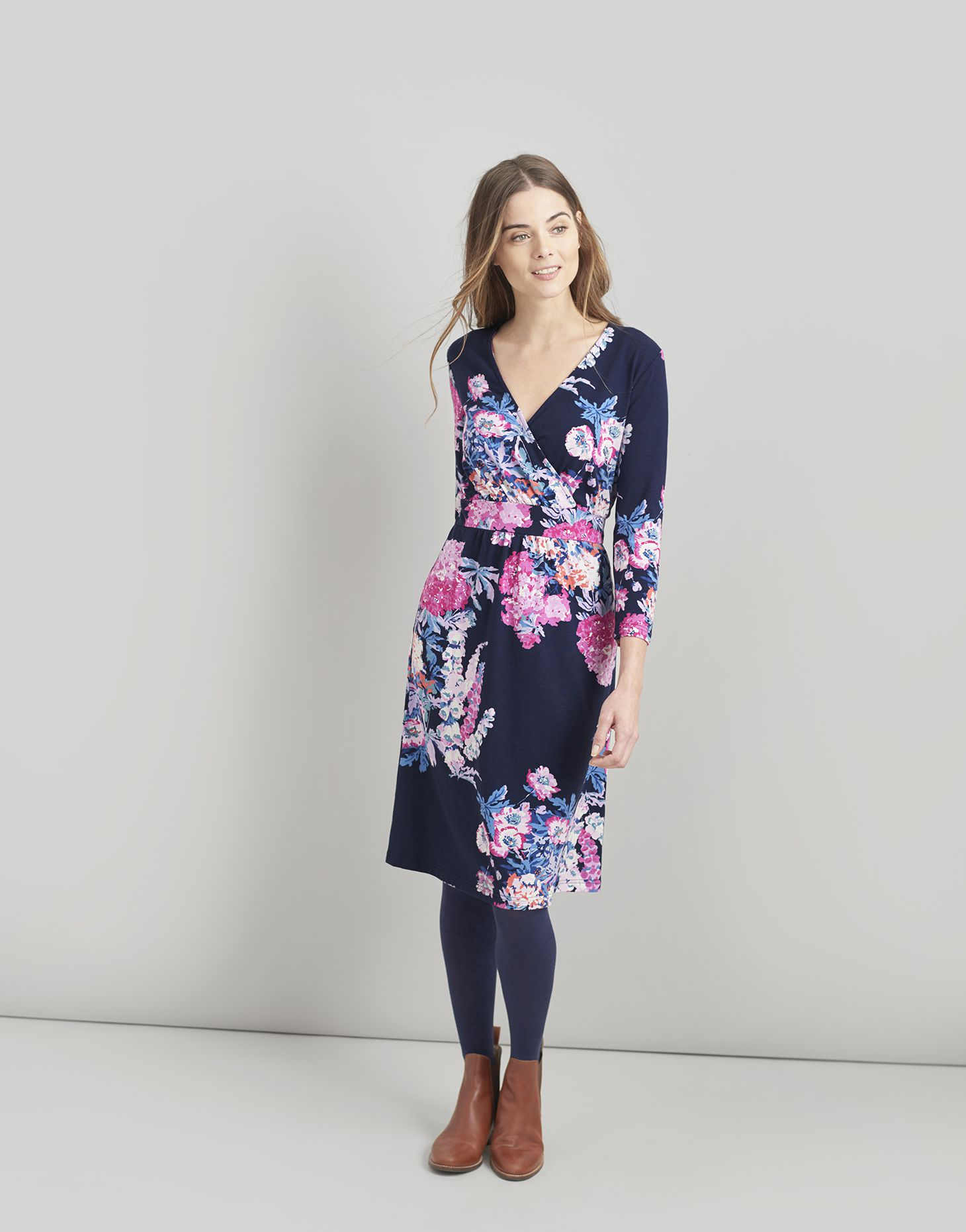 eb8a15dd49 Jude NAVY FLORAL Wrap Dress With 3 4 Sleeve