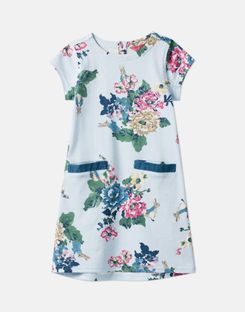 Joules US Patch Younger Girls Official Peter Rabbit™ Collection Pocket Dress 1-6 Years LIGHT BLUE RABBIT FLORAL