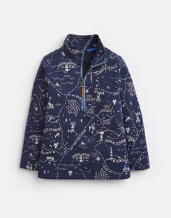 Joules UK Dale Older Boys Half Zip Sweatshirt 1-6 Yr NAVY TREASURE MAP