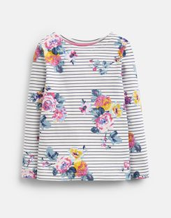 Joules US Harbour Print Older Girls Jersey Top 3-12 Years NAVY STRIPE FLORAL