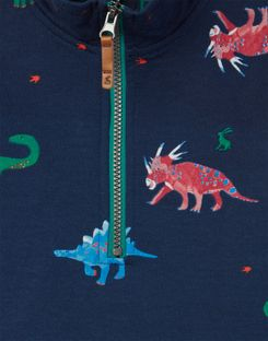 Joules UK Dale Younger Boys Printed Overhead Sweat 1-6 Years DARK BLUE DINOS