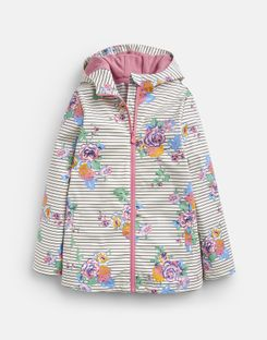 Joules US Raindance Older Girls Showerproof Rubber Coat 1-12 Years CREAM NAVY FLORAL