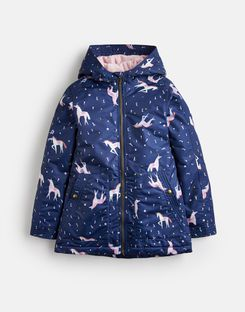 Joules US RAINDROP Older Girls WATERFALL RAINCOAT 3-12yr NAVY UNICORN