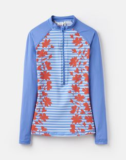 Joules UK Adrianna Womens Zip Rash Vest BLUE FLORAL BORDER