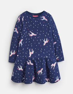 Joules US JOSIE Younger Girls JERSEY PRINTED DRESS 1-6yr NAVY UNICORN