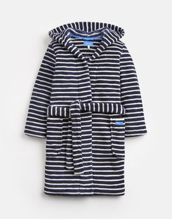Joules US Roban Older Boys Dressing Robe NAVY CREAM STRIPE