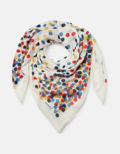 Joules US Atmore Womens Printed Square Scarf CREAM  SPOTS