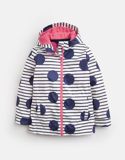 Joules US Raindance Older Girls Waterproof Rubber Coat 3-12 Yr BLUE LARGE SPOT AND STRIPE