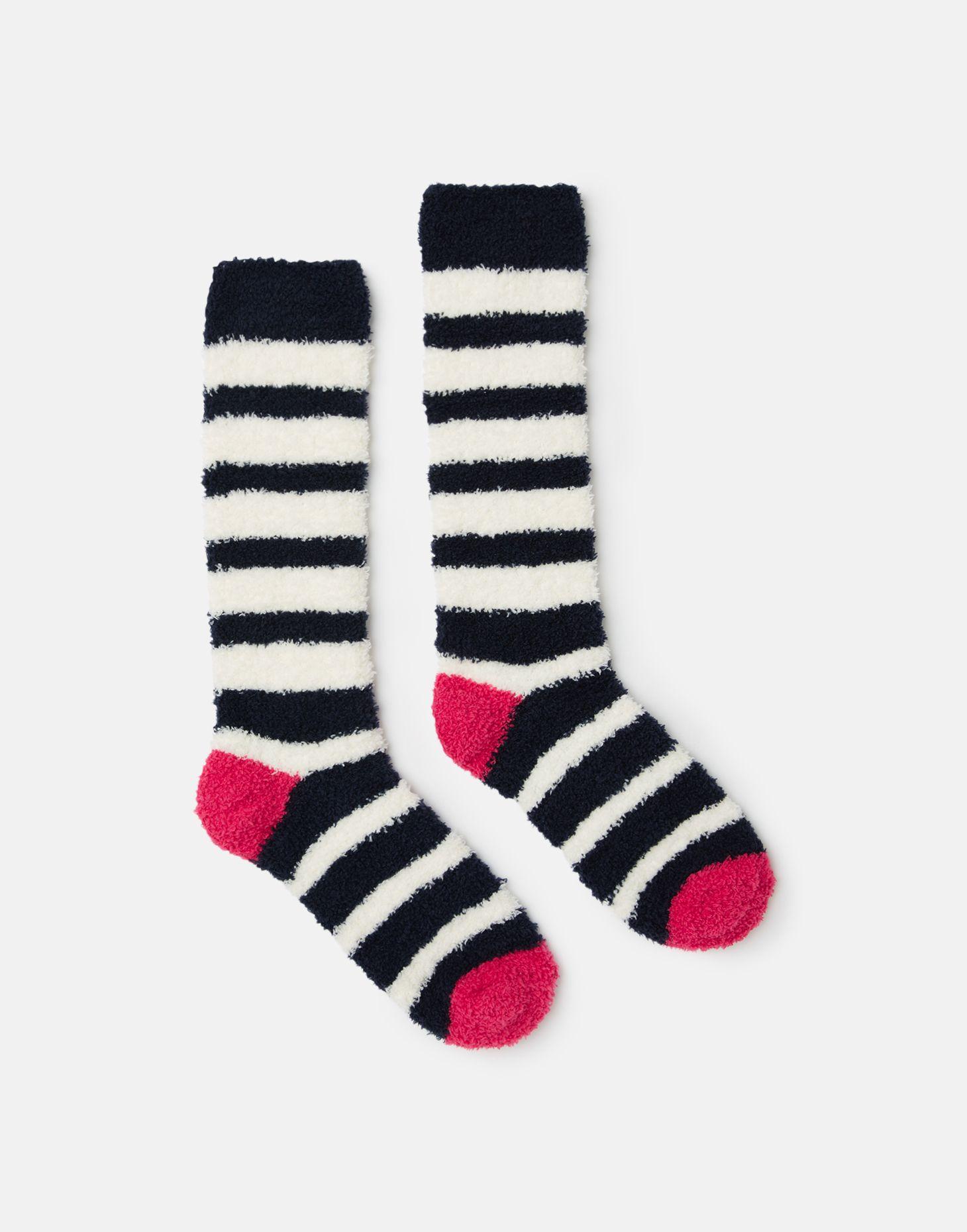 Pink Multi Stripe Joules Fluffy Girls Fluffy Sock