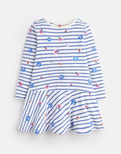 Joules UK JOSIE Younger Girls JERSEY PRINTED DRESS 1-6yr CREAM STRIPE GLITTER BUGS
