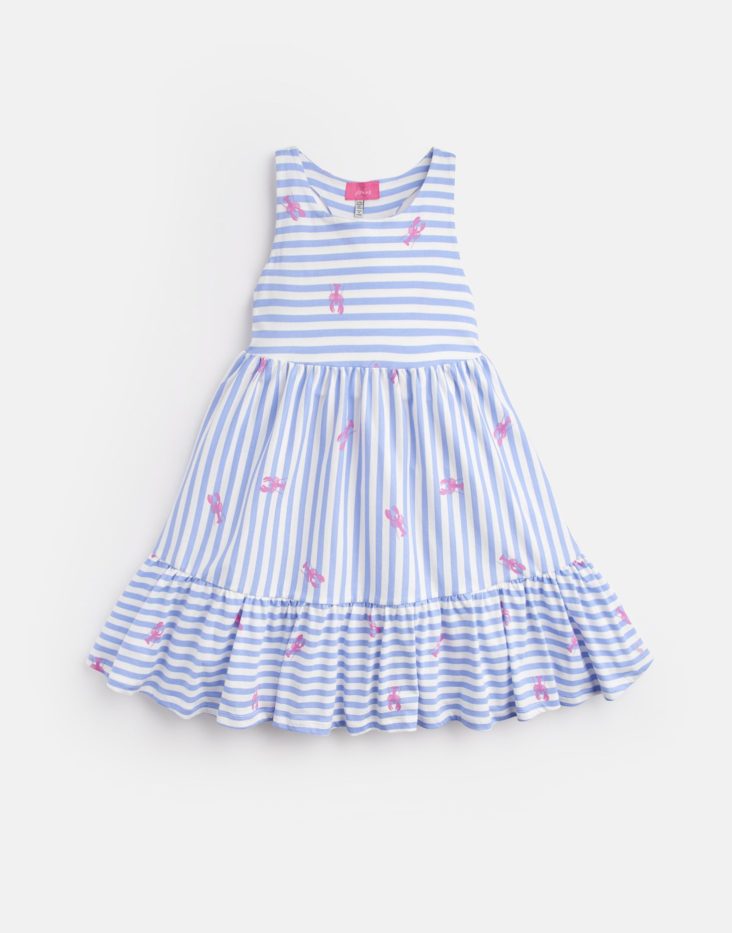 7fa4147c57cd Juno BLUE LOBSTER STRIPE Peplum Midi Dress 3-12 Yr | Joules UK