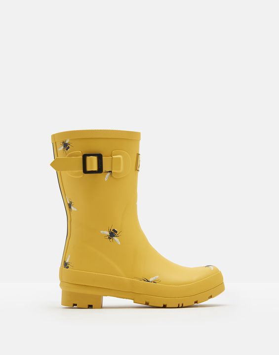 Joules Womens Molly Mid Height Rain Boots - Gold Botanical Bee
