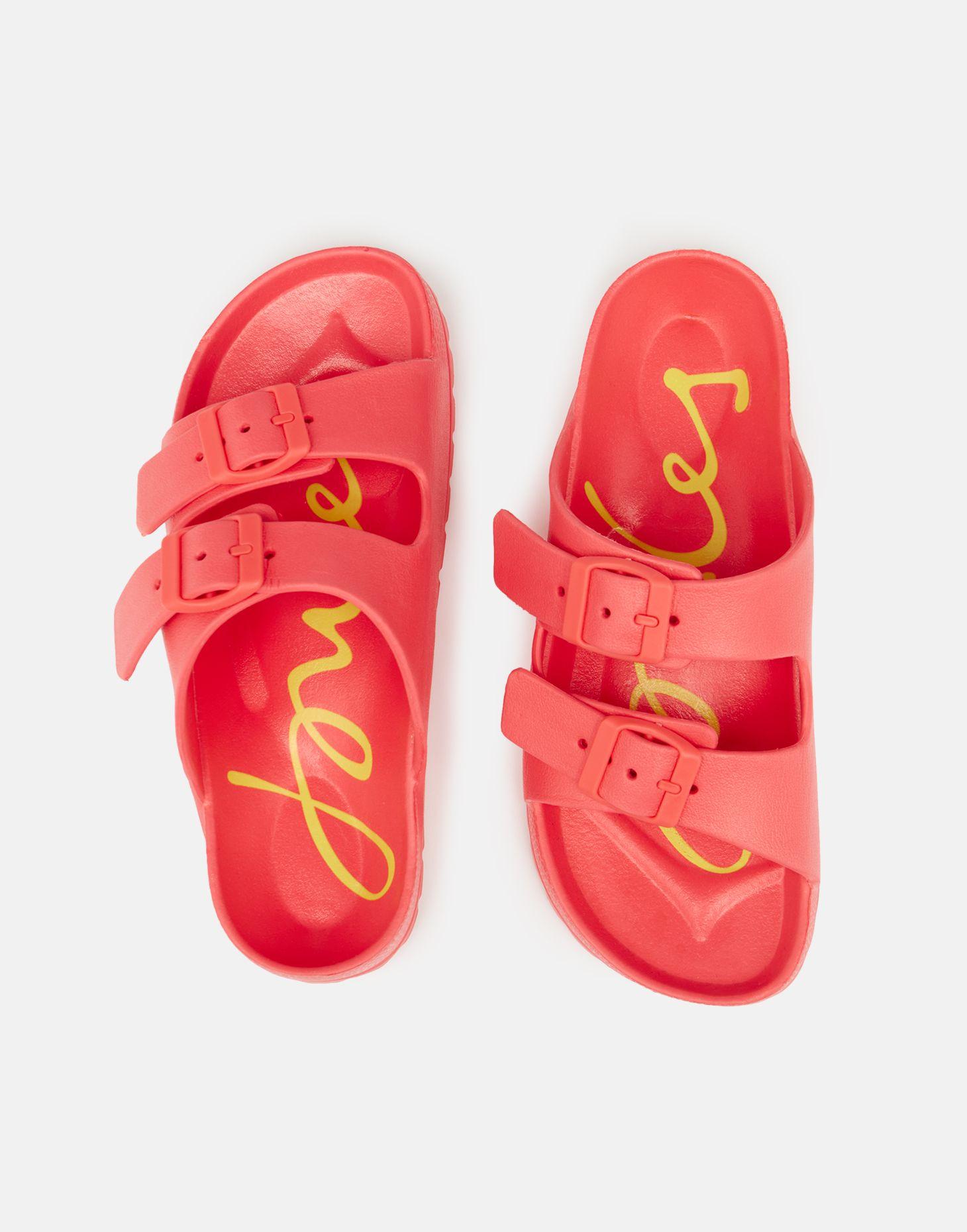 Joules Girls Shore Printed Footbed Slider Pink
