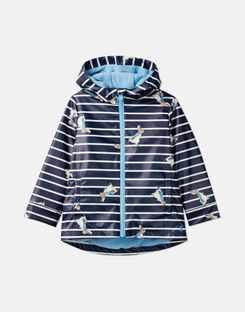 Joules US Skipper Younger Boys Official Peter Rabbit™ Collection Showerproof Rubber Coat 1-6 Years NAVY STRIPE PETER RABBIT