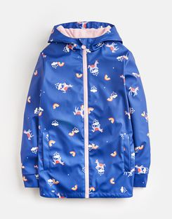 Joules US Raindance Older Girls Waterproof Rubber Coat 1-12 Yr BLUE UNICORN CLOUDS