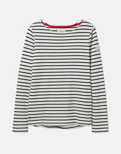 Joules UK Harbour Womens Long Sleeve Jersey Top CREAM NAVY STRIPE