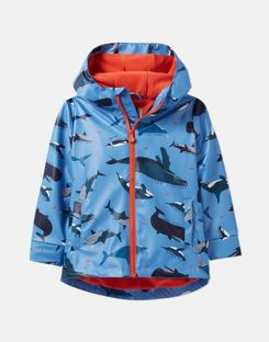 Joules UK Skipper Younger Boys Showerproof Rubber Coat 1-6 Years BLUE WHALES