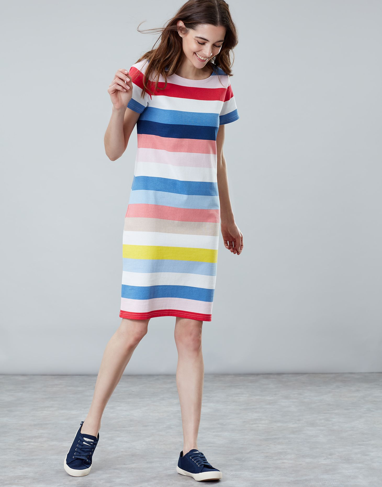 446df508238 Riviera long BLUE MULTI STRIPE Line Jersey Dress | Joules UK