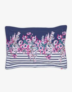 Joules UK Cottage Garden Border Stripe Oxford Homeware Pillowcase PURPLE FLORAL BORDER STRIPE