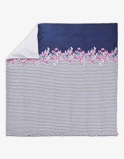 Joules UK Cottage Garden Border Stripe Homeware Duvet Cover PURPLE FLORAL BORDER STRIPE