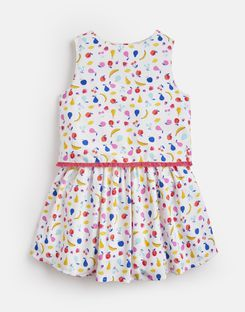 Joules UK IMOGEN Younger Girls WOVEN PRINTED DRESS 1-6 YEARS WHITE FRUIT JUMBLE
