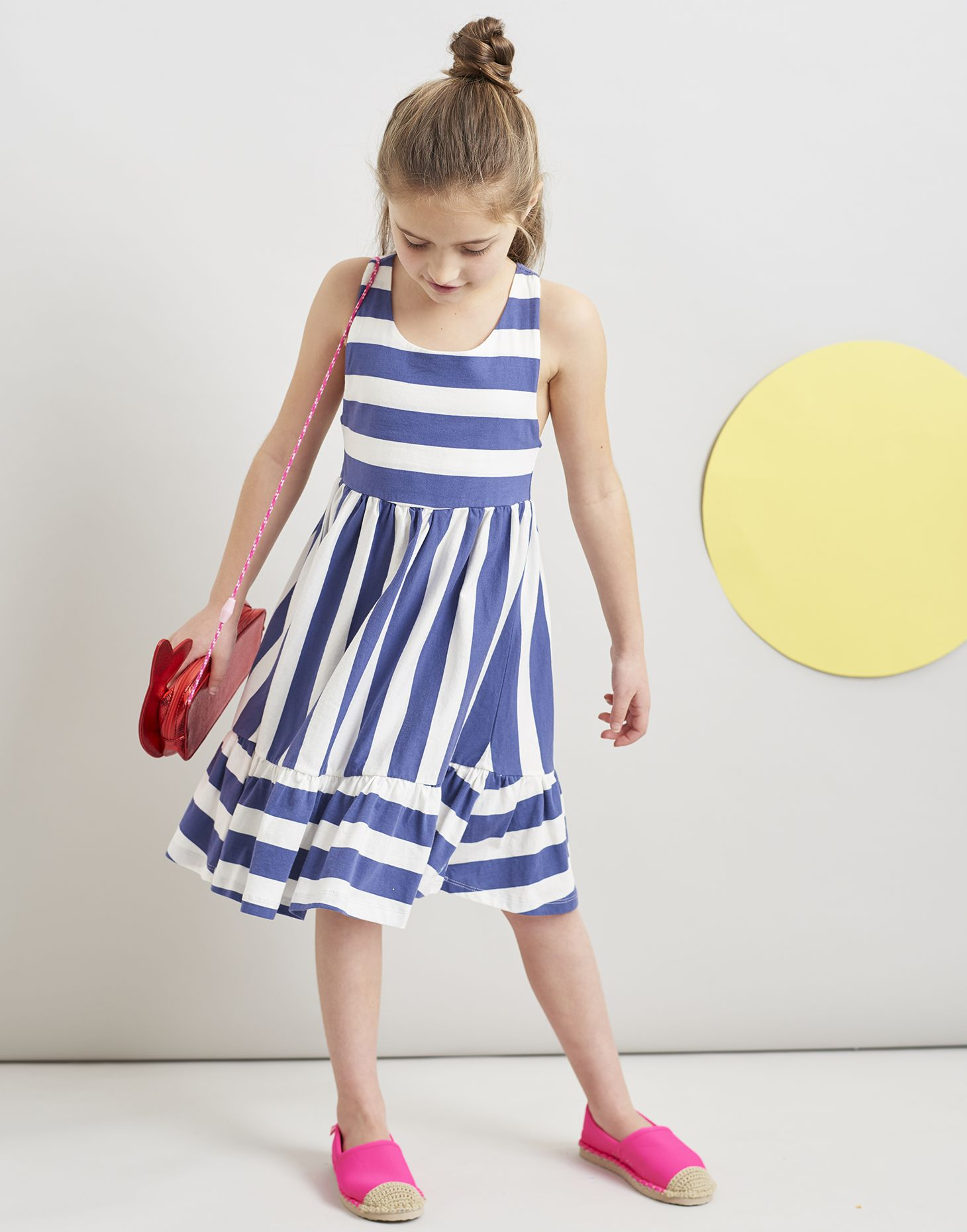 f39ba3094b38 Juno CREAM BLUE STRIPE Peplum Midi Dress 3-12 Yr | Joules UK
