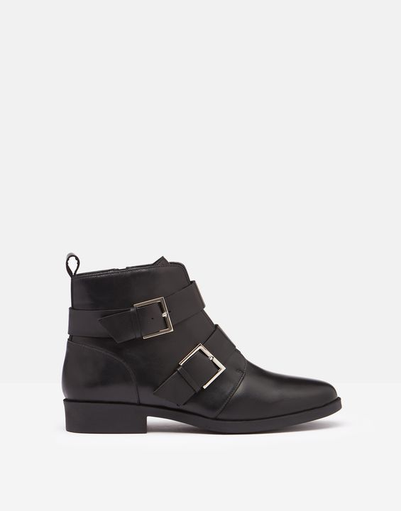 Joules Womens Melbourne Leather Biker Boots With Straps - Black