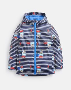 Joules UK SKIPPER Younger Boys WATERPROOF RUBBER RAINCOAT 1-6yr NAVY CREAM STRIPE ANIMAL