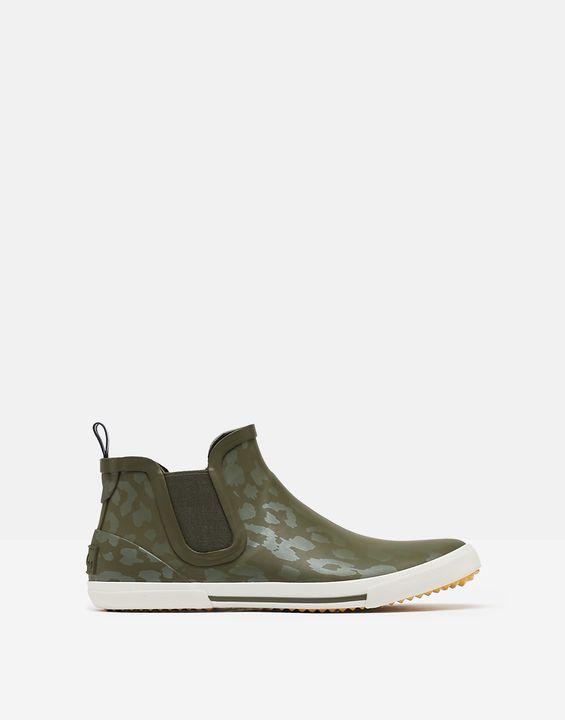 Joules Womens Rainwell Short Height Casual Rain Boots - Green Leopard