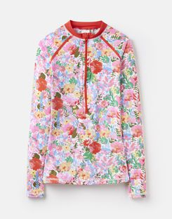 Joules UK Adrianna Womens Zip Rash Vest WHITE FLORAL MEADOW