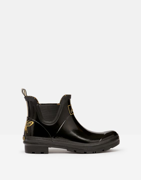 Joules Womens Short Height Printed Rain Boots - Gold Etched Bee