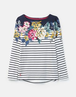 Joules US Harbour Print Womens Long Sleeve Jersey Top ANNIVERSARY BORDER FLORAL
