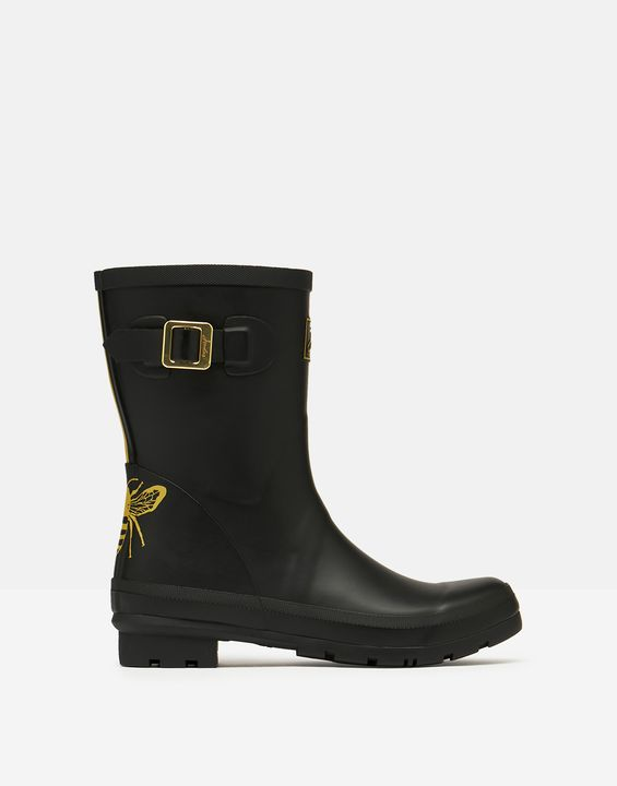Joules Womens Molly Mid Height Printed Rain Boots - Gold Etched Bee