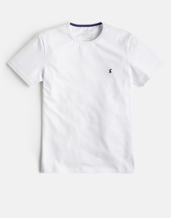 Joules UK Laundered Tee Mens Plain Crew Neck T-Shirt WHITE