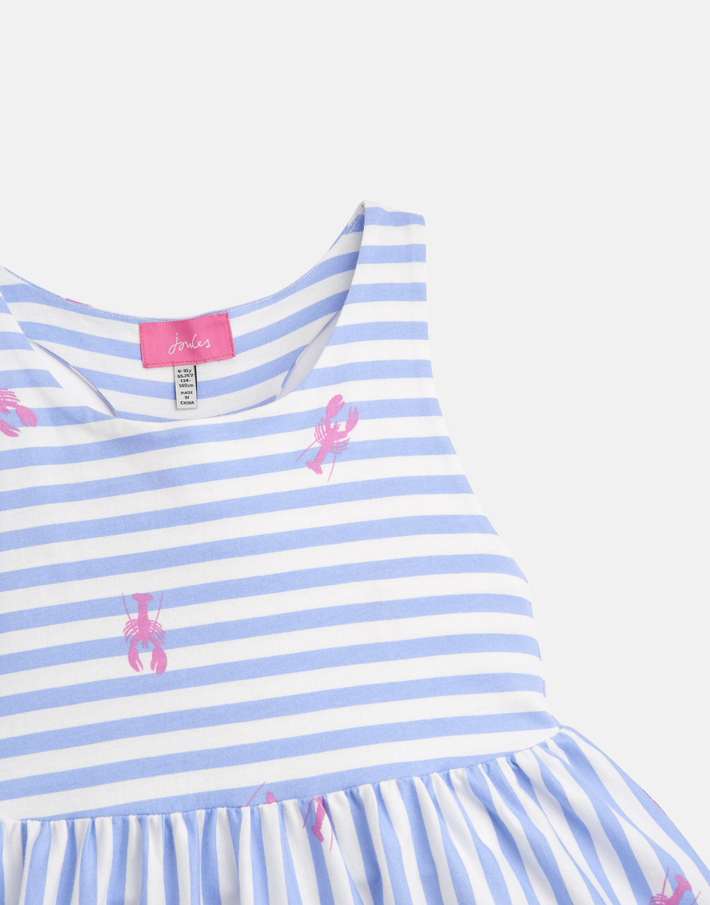 f2b76edf952b Joules Girls Juno Peplum Midi Dress Yr in BLUE LOBSTER STRIPE | eBay