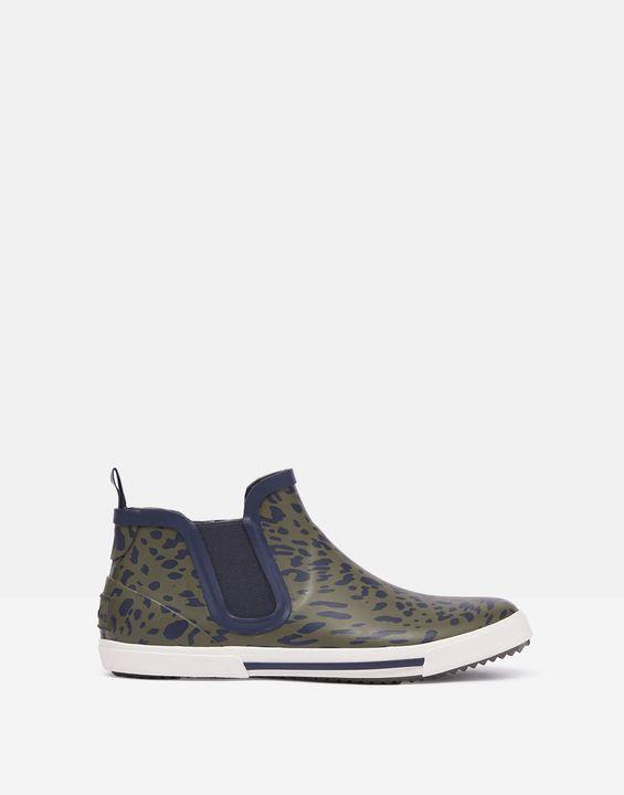 Joules Womens Rainwell Short Height Slip On Rain Boots - Khaki Leopard