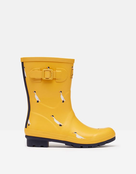 Joules Womens Molly Mid Height Printed Rain Boots - Gold Ducks