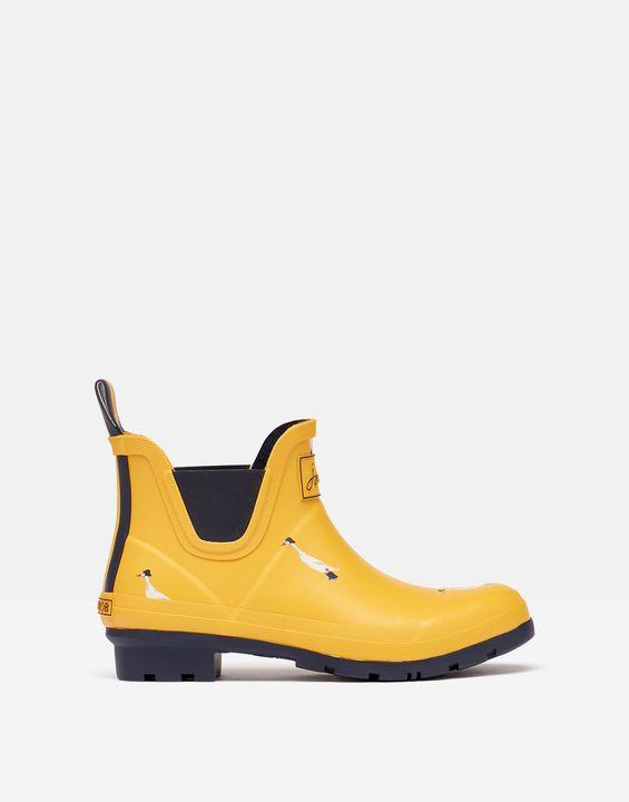 Joules Womens Short Height Printed Rain Boots - Gold Ducks