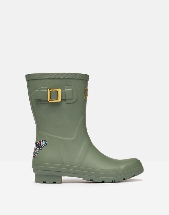 Joules Womens Molly Mid Height Printed Rain Boots - Butterfly