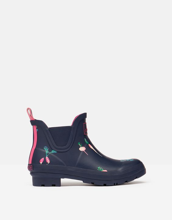 Joules Womens Short Height Printed Rain Boots - Navy Vegetables