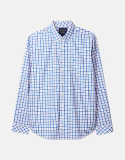 Joules US Harrison Mens Long Sleeve Classic Fit Shirt BLUE WHITE CHECK